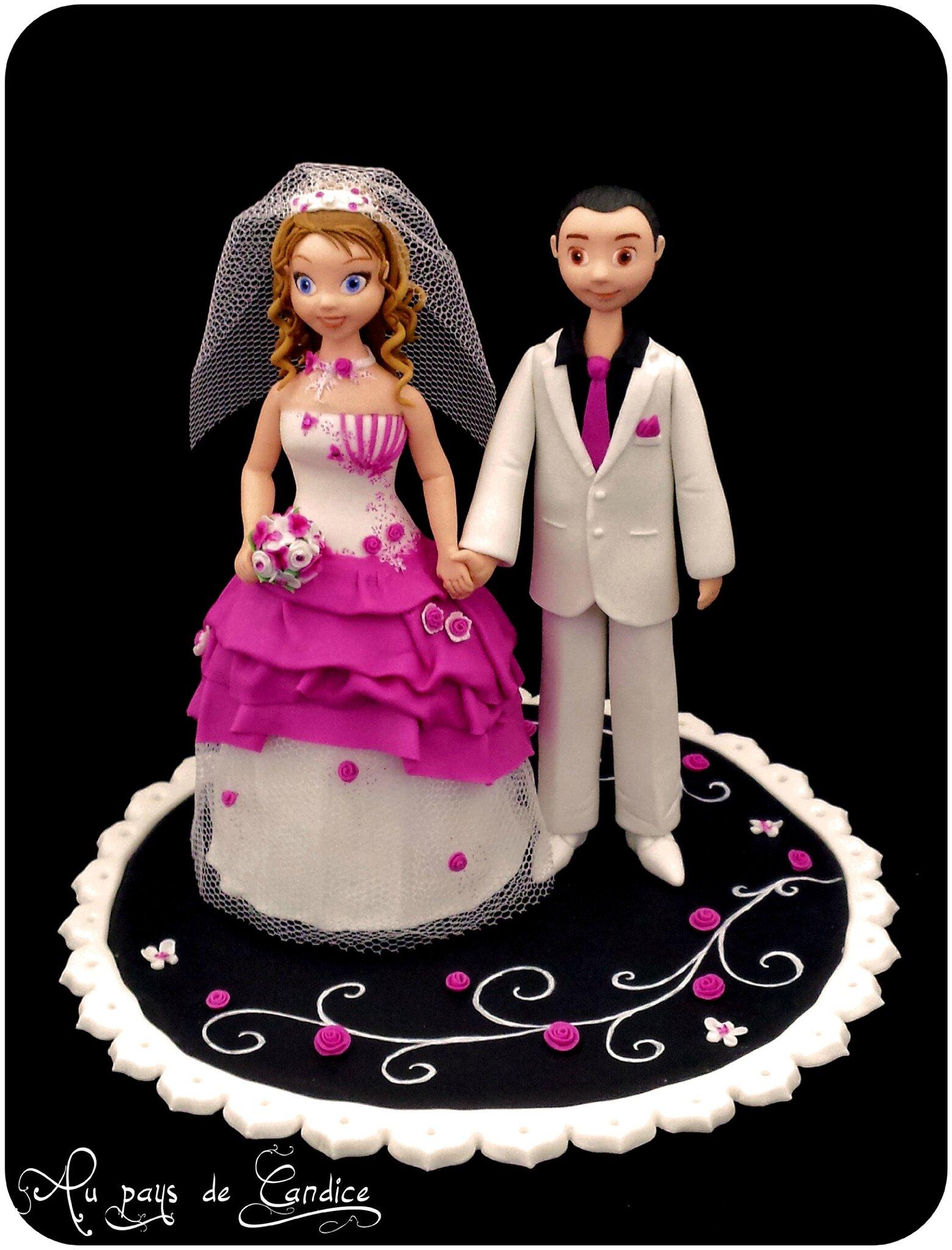 "Couple de mariés ""blanc fuchsia noir"""
