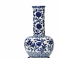 A very rare blue and white 'bird and flower' bottle vase, Wanli period (1573-1619)