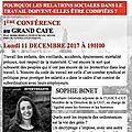 1e conference de l'universite citoyenne le 11 decembre 2017 a 19h au grand cafe place gabriel peri le blanc-mesnil