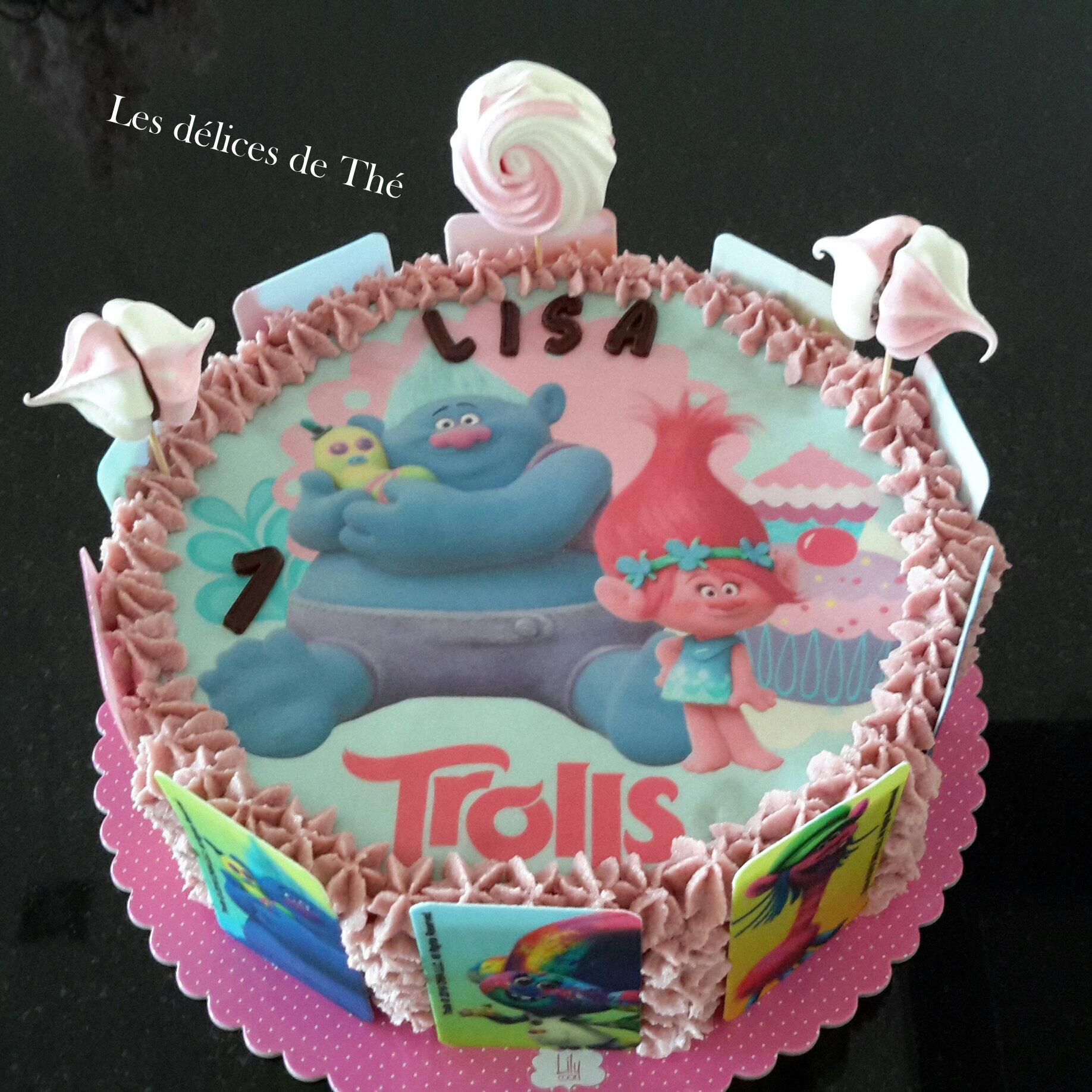 Trolls, gâteau anniversaire