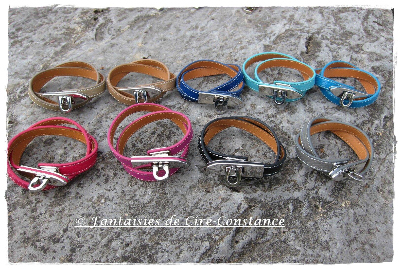 Bracelets Flèche cuir double tour