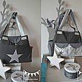 VENDU - grand sac à langer bébé fashion moderne nombreux rangements poches thème étoiles gris argent 4