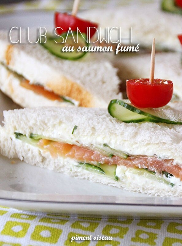 club sandwich au saumon fumé - Smoked salmon sandwich club