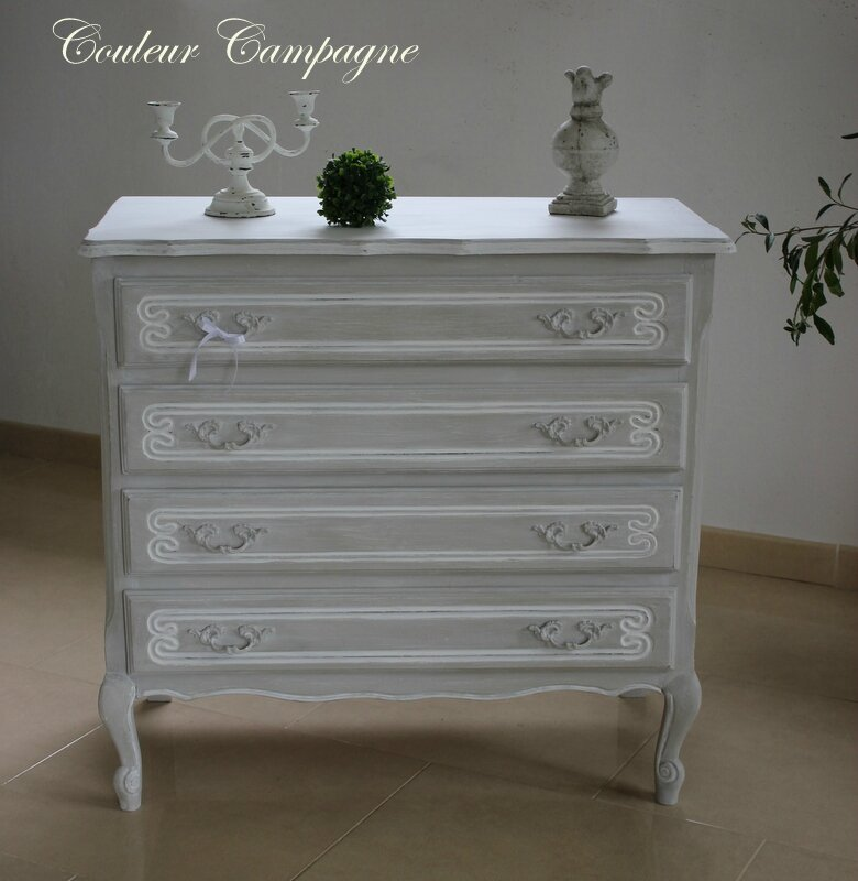 Commode patin e l 39 ancienne gris perle rechampie blanc for Patiner un meuble blanc