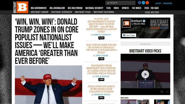 Breitbart front page for Trump