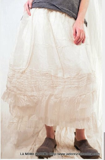 4-MP Skirt Organza-silk and cotton linning in ivory Pintuck