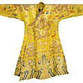 A silk yellow ground dragon chuba, tibet-china, 18th century