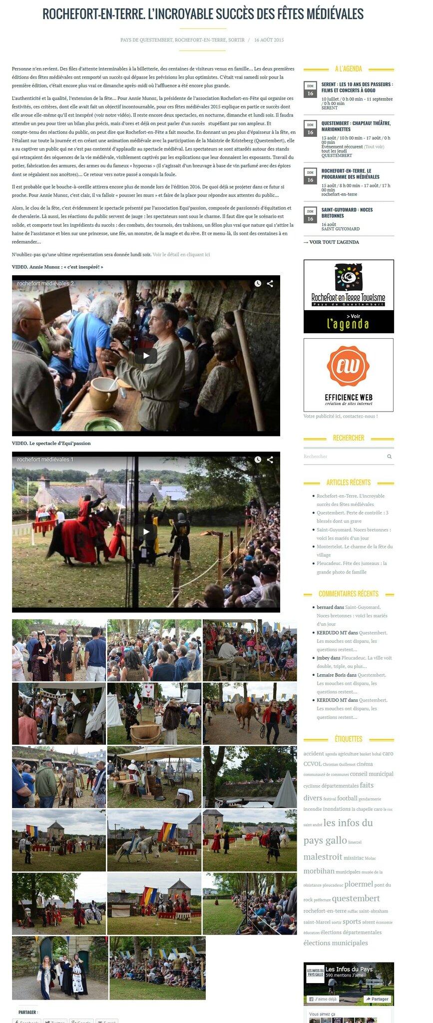 Les infos du pays gallo 17 08 2015 rochefort en f te - Office du tourisme rochefort en terre ...