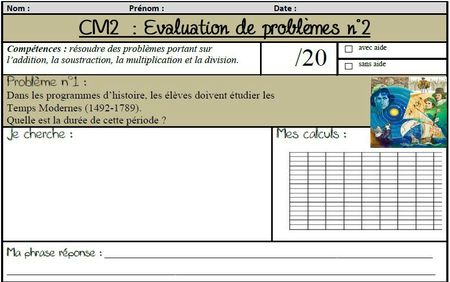 Des valuations de probl mes portant sur les 4 op rations - Evaluation tables de multiplication cm1 ...