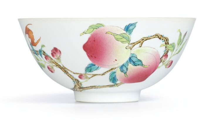 An extremely fine and rare famille-rose 'Peach' bowl, Mark and period of Yongzheng