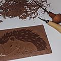 Linogravure d'un joli hérisson