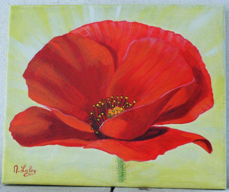 Acrylique coquelicot solitaire photo de mes acryliques for Tableau de coquelicot en peinture