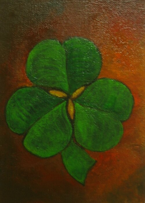Happy Saint Patrick's day! Shamrock acrylic paint /peinture acrylique / acrylverf 13 x 18 cm appr. 5,1 by 7,1 inches