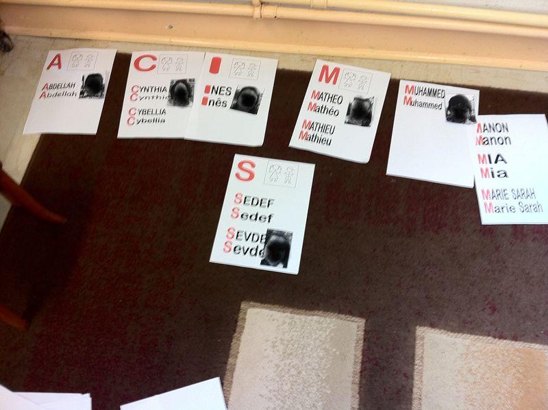 Construction de l'abécédaires des prénoms de la classe