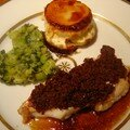 "Gingerbread-crusted cod fillets, mini ""gratins dauphinois"", dos de cabillaud en crumble de pain d'épices"