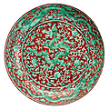 Fine underglaze iron red and green dragon dish. china, zhengde mark and period