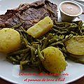 Entrecôte et poêlée de haricots verts et pommes de terre à l'ail