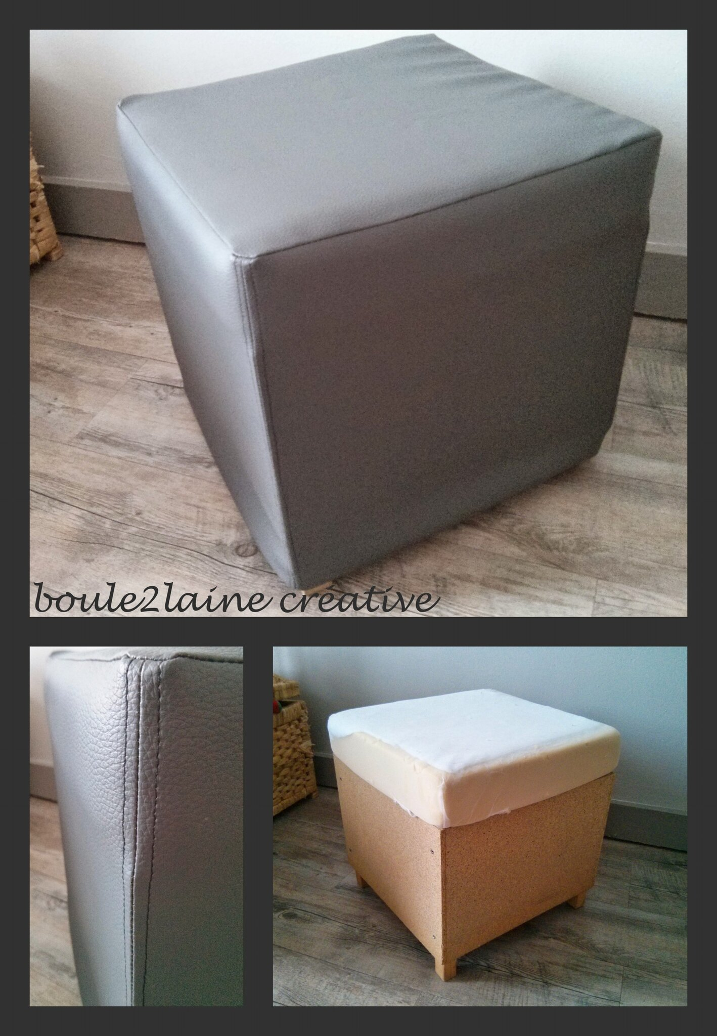 pouf relook trouv la poubelle boule2laine cr ative. Black Bedroom Furniture Sets. Home Design Ideas