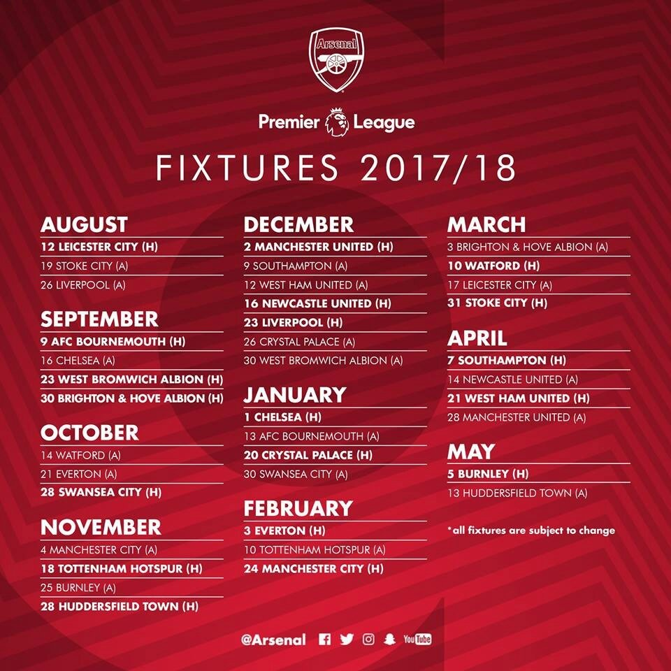 Le Calendrier d'Arsenal saison 2017/2018 en Premier League