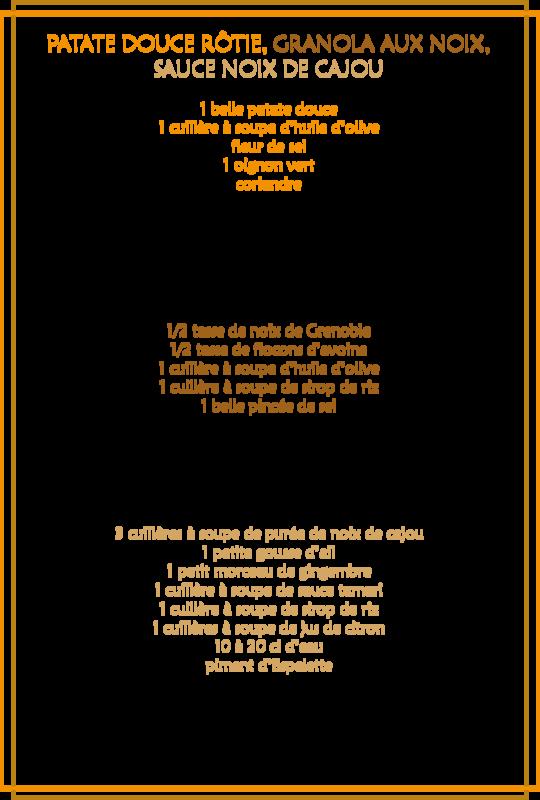 Patate douce rôtie, granola aux noix, sauce noix de cajou_fiche