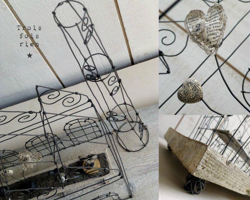 Heart Factory, usine fil de fer, bois, papier (2)