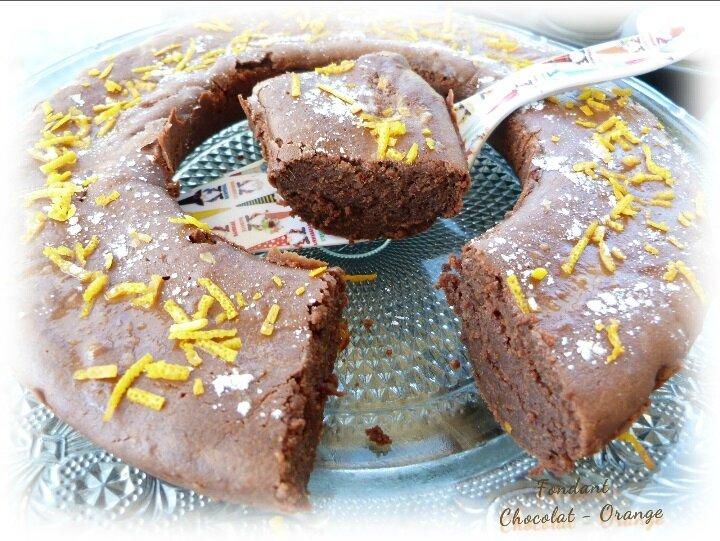 """ღ """" Miam """" Fondant au Chocolat à l'orange (au Mascarpone , sans beurre ni œufs )"""