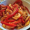 Crevettes sautées au poivron
