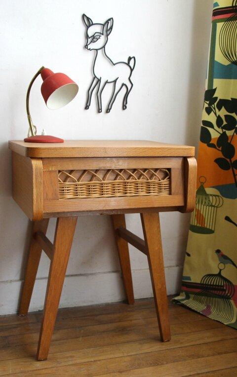 chevet en rotin vintage retour de chine. Black Bedroom Furniture Sets. Home Design Ideas