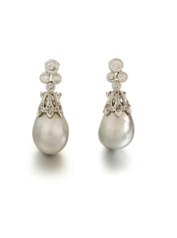 A pair of natural pearl and diamond earclips