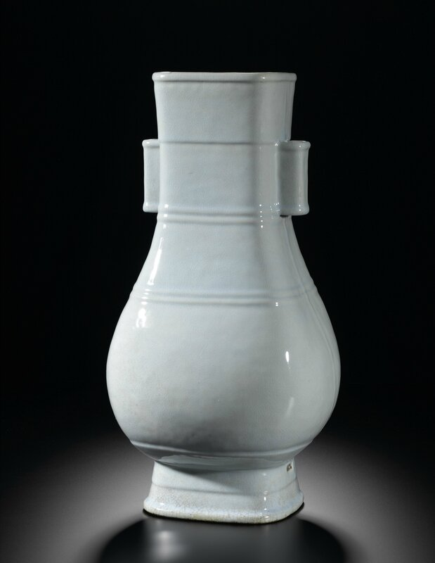 A Very Rare Massive Ru-Type Handled Vase, Fanghu, Seal Mark And Period of Yongzheng (1723-1735)