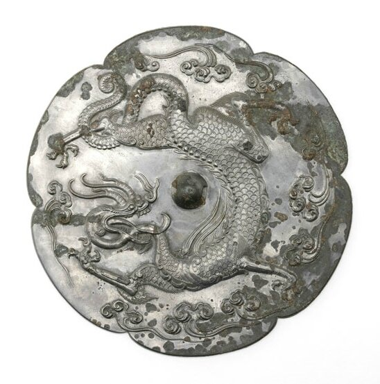 Lobed mirror with a dragon and clouds, China, mid-Tang dynasty, first half of 8th century