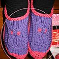 Chaussons tricot chouettes