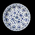 A magnificent and extremely rare blue and white barbed dish, yongle period