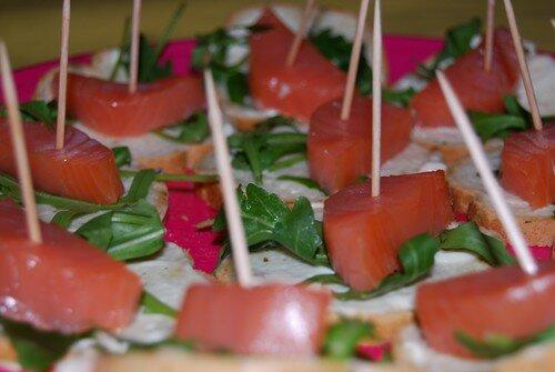 canapé coeur de saumon