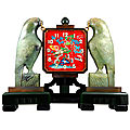 Art deco clock by ostertag oriental enameled screen jade clock. france. circa 1925.