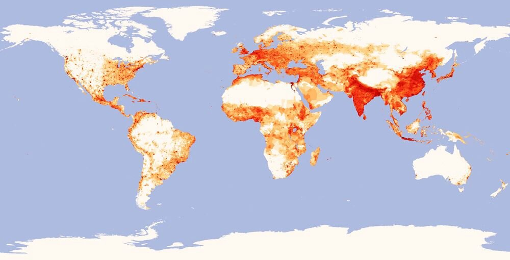 World map of population density