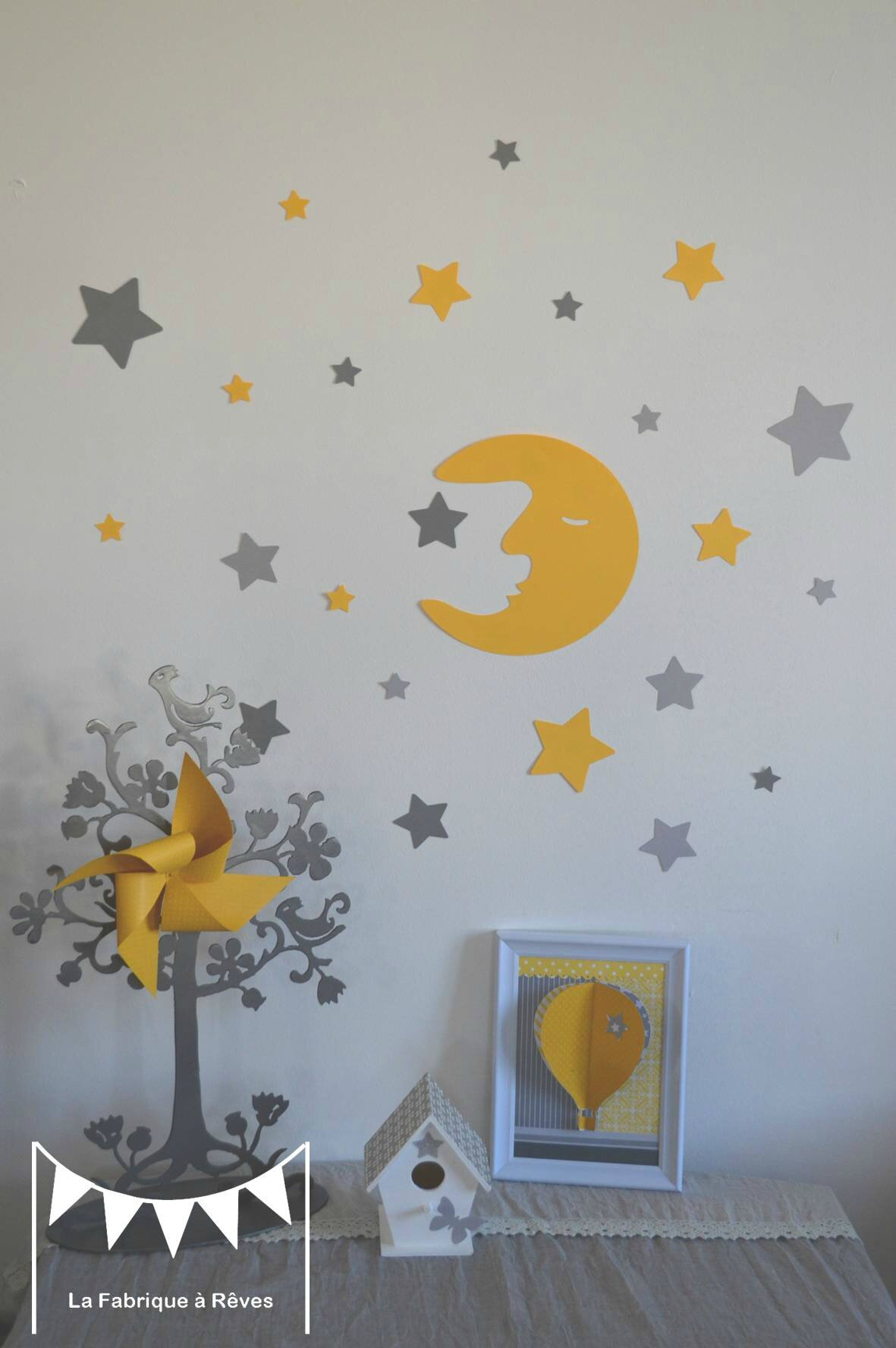 Stickers d coration chambre enfant fille b b gar on lune et toiles jaune gris photo de th me for Chambre bebe jaune moutarde