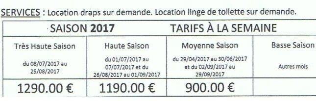 tarif Divinière DIVE2017