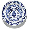 An iznik blue and white pottery dish, turkey, circa 1560-80
