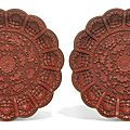 A pair of cinnabar lacquer dishes, qing dynasty, qianlong period (1736-1795)