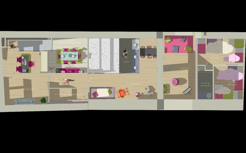 plan avec mezzanine photo de micro cr che lyon archifloor architecte dplg lyon. Black Bedroom Furniture Sets. Home Design Ideas