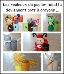 pots crayons animaux avec des rouleaux de papier. Black Bedroom Furniture Sets. Home Design Ideas