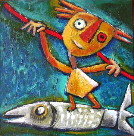 LE BRICQUIR Retour de pêche 2002 50 x 50