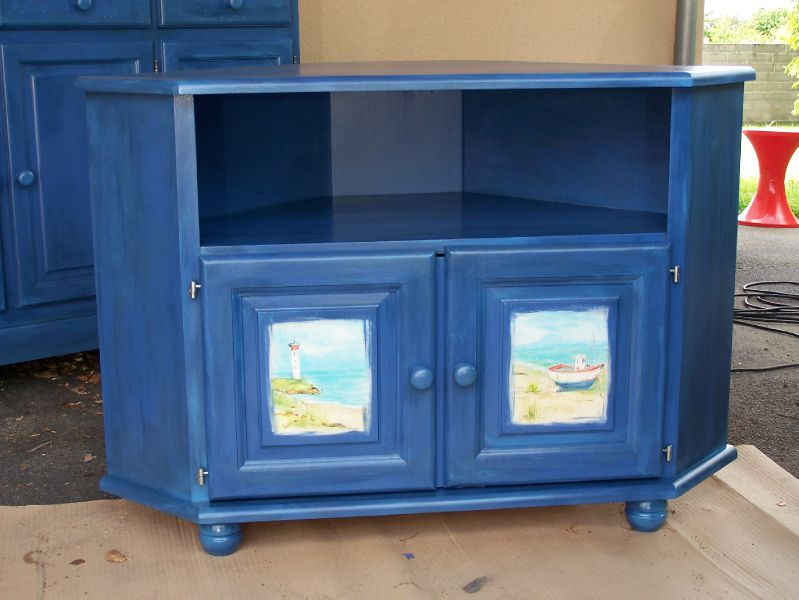 Meuble tv bord de mer photo de mes meubles relook s claudine br ger - Meuble tv bord de mer ...