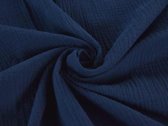 Tissu double gaze de coton uni coloris BLEU ENCRE au mètre