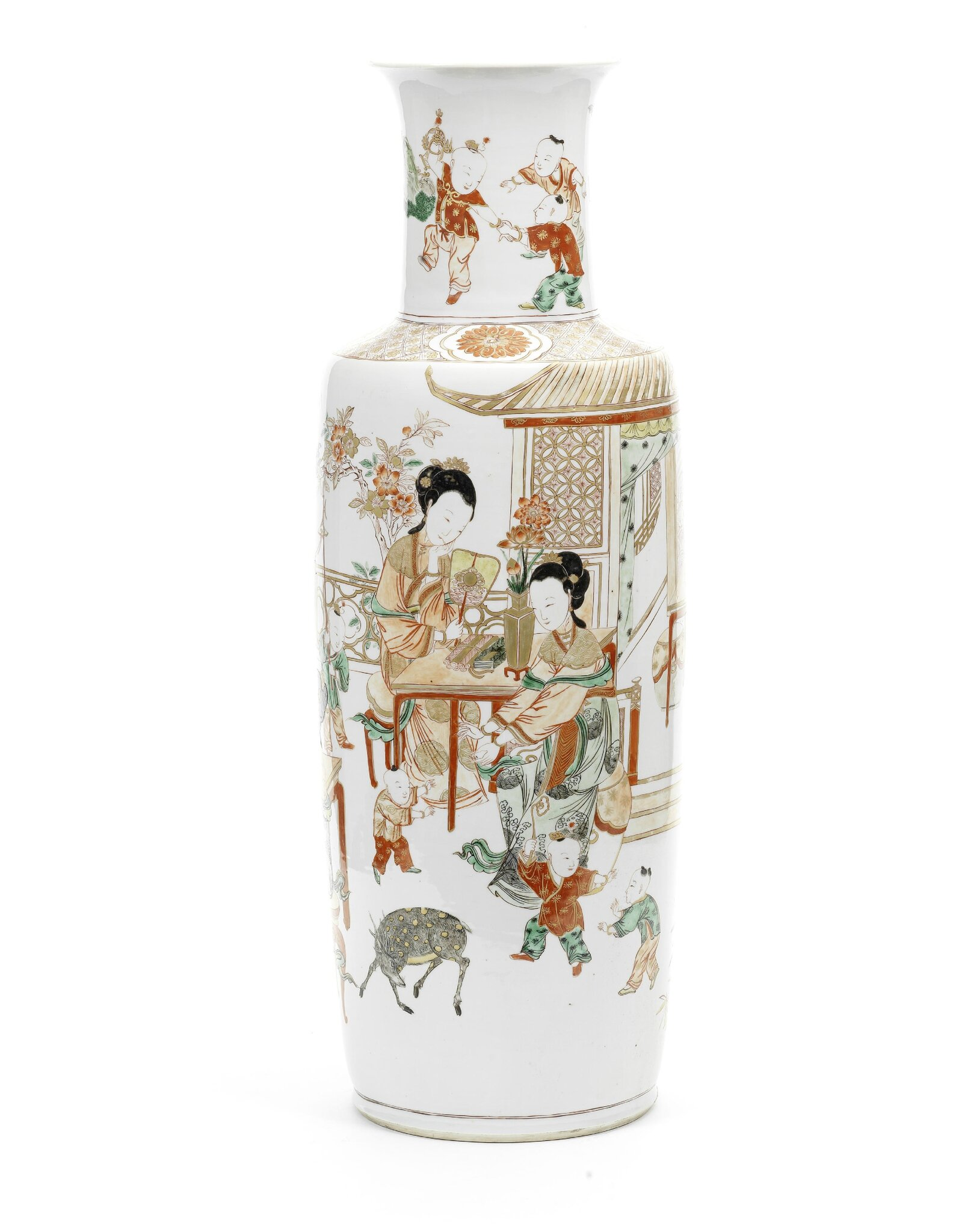 A large and rare enamelled rouleau vase, Kangxi period