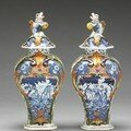 A pair of dutch polychrome delft covered baluster vases - 18th century