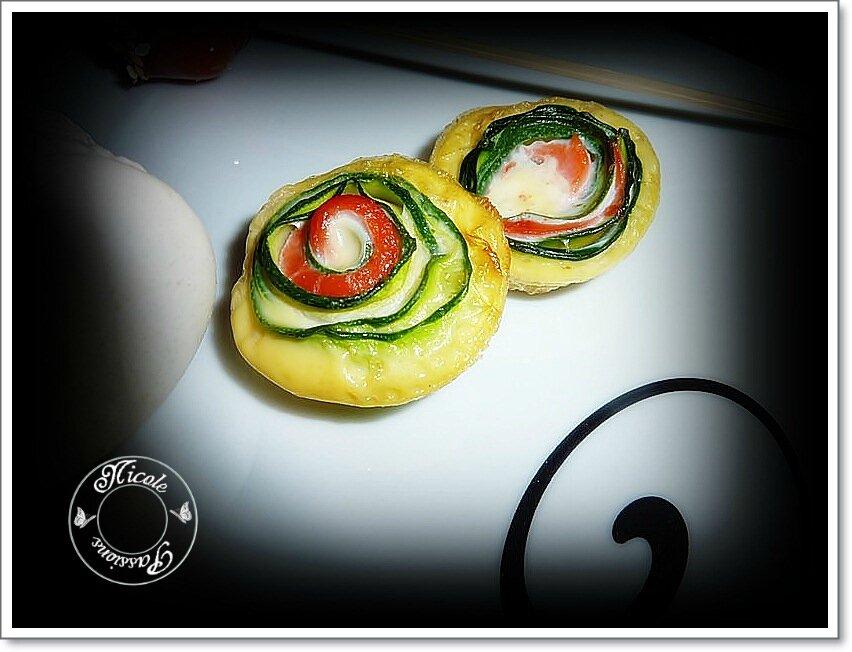 Quelques tourbillons saumon, courgette, wasabi.........
