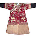 A fine purple Dragon robe with couched gold thread embroidery, China, Qing dynasty