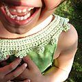 Vert, oeufs, dent, robe crochet, étoiles